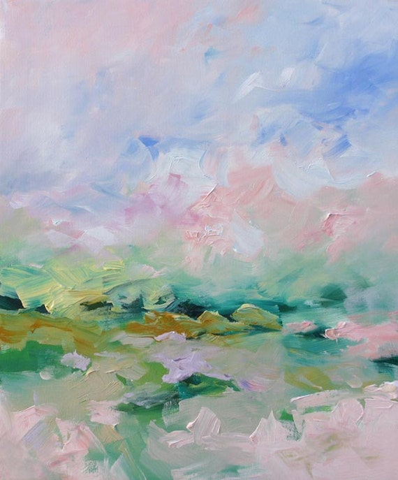 Original Abstract Landscape Painting Subtle Dreamy Fauve Impressionist Acrylic Painting on Canvas by Linda Monfort