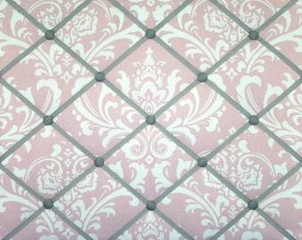 Pink Gray White Damask French Ribbon Memo Board