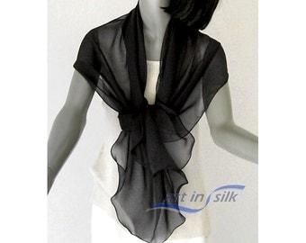 "Black Silk Shawl Wrap Scarf Chiffon 10mm 100% silk 20"" X 64"", Petite S M, Artisan made."