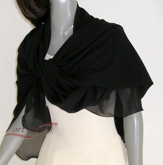 black square scarf large square silk silk chiffon by artinsilk