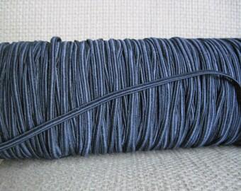 Dark Navy Soutache,Narrow Elastic Soutache Cording,Vintage Trim 6 yards,Navy Blue Elastic,New Old Stock
