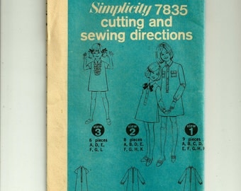 Vintage Simplicity Girls' Dress Pattern 7835