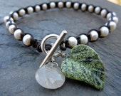 Tranquility - Leather and Pearl Bracelet, Rutilated Quartz, Green Serpentine