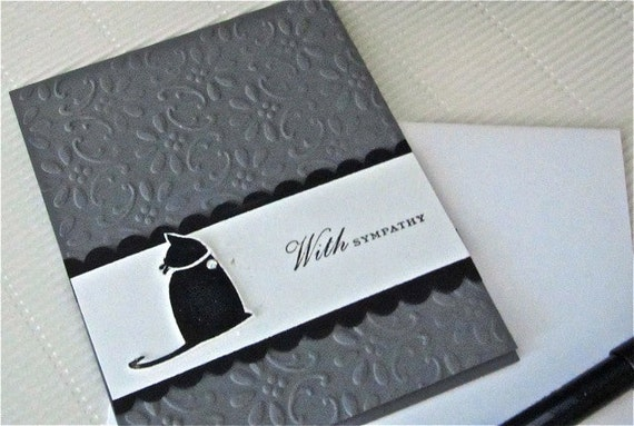 Sympathy/condolence card cat pet stamped handmade blank in grey and black with scallops and embossing stationery greeting card home