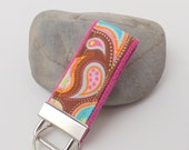 Mini Key Fob or Key Chain  -  Every Iota Paisley on Pink or Turquoise Webbing, you choose the color