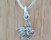 Goldfish Sterling Silver Charm - Petite Fish Charm
