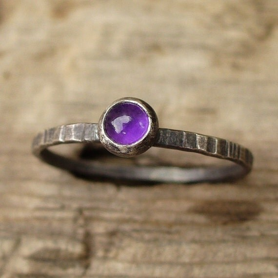 Tiny Sterling Amethyst Ring - Sterling and Fine Silver - Genuine Gemstone - Dainty, Grooved Band