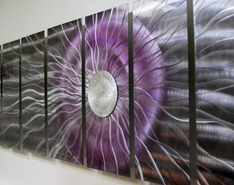 Gray Purple & Silver Abstract Metal Wall Art - Handmade Fantasy Modern Wall Sculpture - Large Wall Decor Accent - Black Photon by Jon Allen