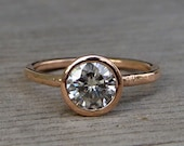 Rose Gold Engagement Ring - Forever Brilliant Moissanite and Recycled 14k Rose Gold, Made to Order - Eco-Friendly Diamond Alternative