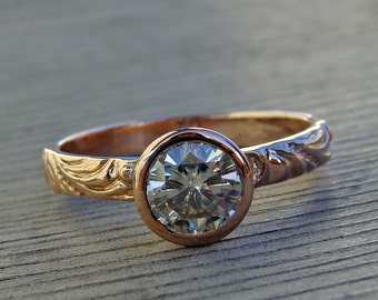 Rose Gold Wedding, Engagement, or Right Hand Ring - Moissanite and Recycled 14k Rose Gold - Made To Order - Diamond Alternative