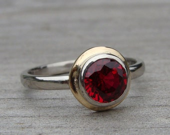 Chatham Ruby, Recycled 14k Yellow Gold, and Recycled 950 Palladium Engagement Ring - Diamond Alternative - Made to Order