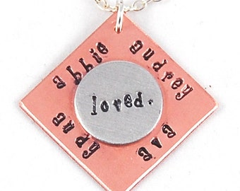 Mixed Media Custom Stamped loved. Necklace