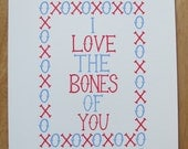I Love The Bones Of You Hand Printed Limited Edition Screenprint in Blue & Magenta