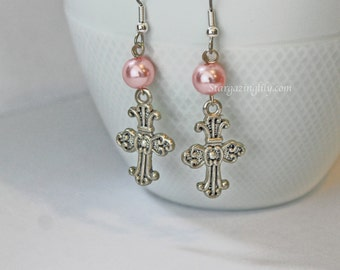 Silver Fancy Cross earrings with Pink Pearls Hypoallergenic surgical steel hooks YOU CHOOSE COLOR