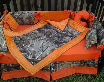 New 7 piece brown real tree CAMOUFLAGE baby crib bedding set w/ orange minky dot fabrics camo