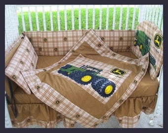 New JOHN DEERE baby crib bedding set in brown Deere plaid fabric and light brown beige accent fabric