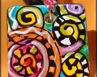Beautiful Sale pendant Rainbow ART Ceramic Pendant Hand Painted jewelry Beaded