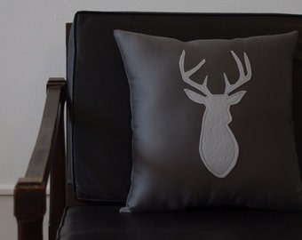 Monochrome Gray Decorative Deer Pillow