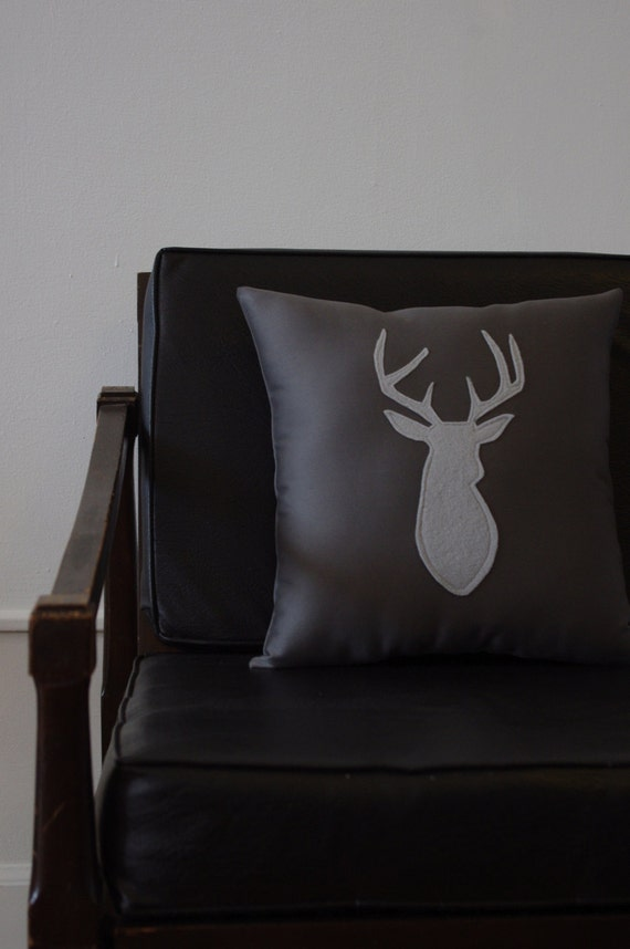 Monochrome Gray Decorative Deer Pillow