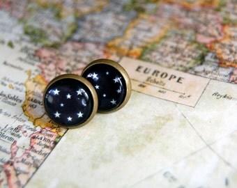 constellation framed post earrings- stars- starry nights- antique brass