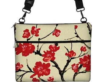 13 inch Laptop Bag  Floral Laptop Case Woman's Messenger Bag Crossbody Bag Macbook Pro 13 / Air / Retina long strap cherry blossom red MTO