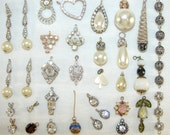 Mixed LOT Vintage Rhinestone Pendants Faux Pearl Dangles Jewelry Charms Supplies