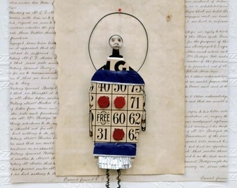 Original Mixed Media Art doll - Tic-Tac-Roe