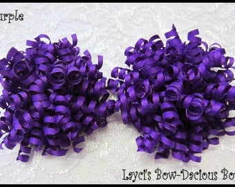 Petite PURPLE Korker Hair Bow Set, set of 2, korkers, hair bows for girls,Halloween, toddler girl, birthday bows, international shipping