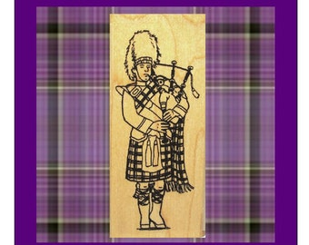 Large Scottish Highland Bagpiper Rubber Stamp Scotland Tartan #201