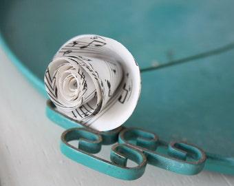 paper rose flowers. repurposed sheet music. small. set of 5