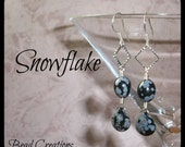 Black Earrings Snowflake Obsidian Silver Teardrop Diamond Square SNOWFLAKE
