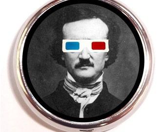 Edgar Allan Poe With 3D Glasses Pop Art Geekery Goth Nerd Pill Box Pillbox Case Trinket Box Vitamin Holder