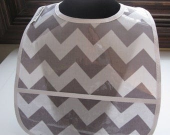 WATERPROOF WIPEABLE Baby to Toddler Wipeable Plastic Coated Bib Gray and White Chevron