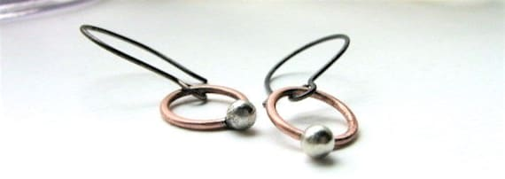 Tiny Buds sterling silver and copper earrings  - made to order