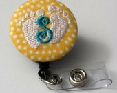 4 Custom Monogrammed Baby Feet Badge Reel Clip on or Swivel Clip(Alligator)- Id Holder- Retractable