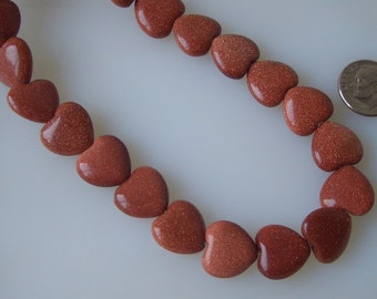 Goldstone Copper Heart Beads 15mm 10 pcs