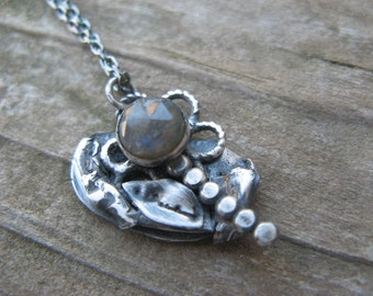 SALE - labradorite funky flower necklace- metalwork and oxidized silver