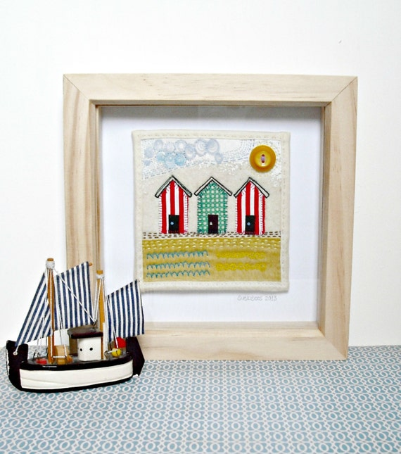 Beach Hut Machine Embroidery Design: Embroidered Mini Wall Art Beach Huts By Suezybees On Etsy