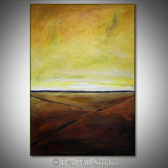 YELLOW Abstract Painting ORIGINAL - Large Abstract Landscape Oil Painting Contemporary Artwork - BEGINNING 40x28 by BenWill