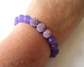 Lavender Jade and Crystal Pave Stretch Bracelet
