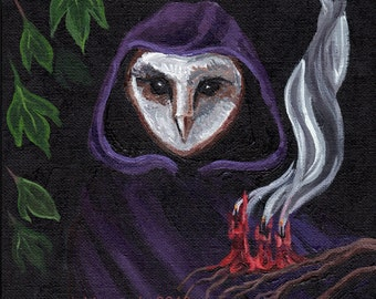 Gothic owl art print, mystery cult, folk horror, candle smoke, occult woodland witch art reproduction 8 x 10 print alchemy shroud cloak