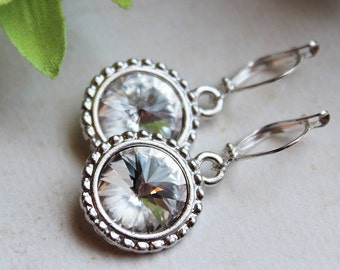 Swarovski Rivoli Earrings - Bridesmaid - Wedding Jewelry - Silver Plated - Bridal Party