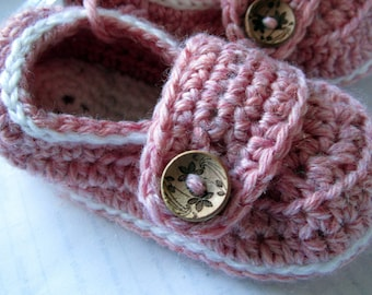 Baby Booties Little Button Loafers Size 9 months Ready To Ship