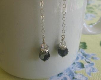 Sterling silver black earrings