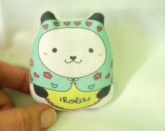 "pandita ""kawaii"" russian art doll with message --hola -- (aqua)--(ship in 1 day)"