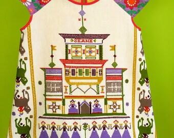 kinchi Tea towel dress from vintage fabric 'Sweden' size 3/4