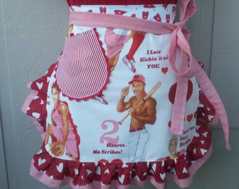 Valentines Aprons - Womens Aprons - Game Of Love Valentines Aprons - Annies Attic Aprons - Valentines Party Aprons - Aprons with Hearts
