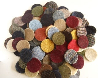100 - 1.5 inch wool penny rug circles - mixed