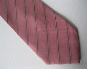 Mans Silk  Tie - Shades of Pink with White striping