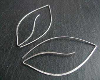 Silver leaves, modern minimalist open hoops,  leaf shaped thread earrings, nature inspired bridal  bridesmaid jewellery